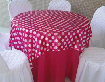 Redonda rosa Pink com cetim bola Pink e branco