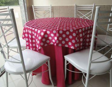 Redonda pink com pink de bolinha branca
