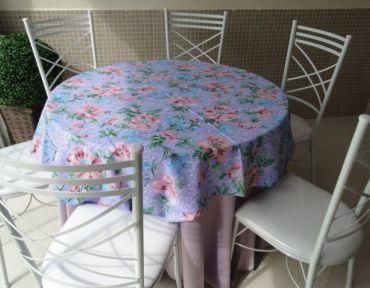 Redonda lilás com lilás estampada em oxford